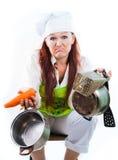Tröttat av arbete i kök och matlagning arkivfoton