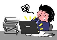 Tröttat ut ur att arbeta stock illustrationer