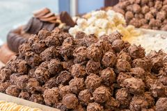Delicious belgian truffles of Bruges stock image