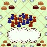 Trüffelsüßigkeit und Schokoladen und Kuchen mit Rahmen für Text oder im Stockbild
