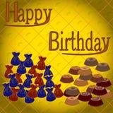 Trüffelsüßigkeiten und -kuchen mit Glückwünschen Geburtstag Stockbild