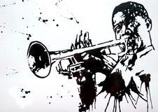 trąbkarz Jazzowy zespół Jazz Huśtawkowa orkiestra sylwetki orkiestra Międzynarodowy Jazzowy dzień Ja świętuje dorocznie na Kwietn ilustracji