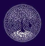 Tr?det av liv mandala Symbolisk modell i vit Manuella diagram på en blå bakgrund stock illustrationer
