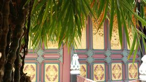 Tr?dg?rdtr?d n?ra orientalisk tempelbyggnad Exotiskt bambutr?d som v?xer n?ra traditionell dekorativ byggnad p? solig dag arkivfilmer
