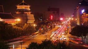 Tr?fico de Xi'an en la noche, China almacen de metraje de vídeo
