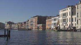 Tr?fico del barco y edificios hist?ricos del palacio en el canal grande en Venecia almacen de metraje de vídeo