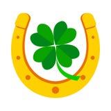 Tr?fle en fer ? cheval et vert d'or de quatre feuilles Illustration de vecteur illustration libre de droits