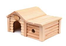 trä för toy för bakgrund hus isolerat vitt Arkivfoto