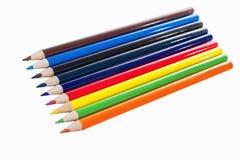 Trä färgade blyertspennor Arkivbilder