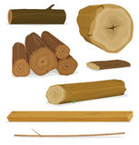 Trä loggar, fastställda stammar och plankor Royaltyfria Bilder