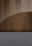 Trä- och textilbakgrund med utrymme för text Arkivfoton