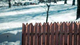 Tr?staket i sn? arkivfoto
