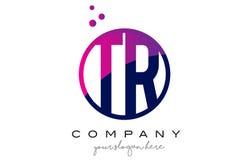 TR T R Circle Letter Logo Design with Purple Dots Bubbles Stock Photo