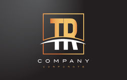 TR T R Golden Letter Logo Design with Gold Square and Swoosh. Royalty Free Stock Image