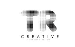 TR T R Letter Logo with Black Dots and Trails. Royalty Free Stock Photography