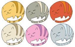 Tração animal da mão do grupo de cor da garatuja dos desenhos animados do logotipo do gato da cópia ilustração royalty free