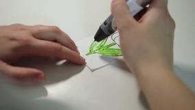 Tração 3D da mão pela pena vídeos de arquivo