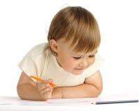 Tração da criança com pastel alaranjado Imagens de Stock