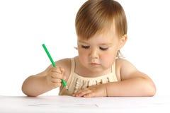 Tração da criança com pastel verde Fotos de Stock Royalty Free