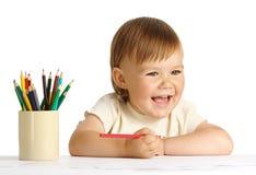 Tração da criança com pastel vermelho Fotos de Stock Royalty Free