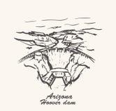 Tração da mão da barragem Hoover, ilustração do vetor do esboço do Arizona ilustração royalty free