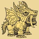 Tração da mão do dragão no estilo do zentangle Imagens de Stock Royalty Free