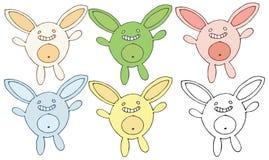 Tração da mão do grupo do monstro do coelho da cor da garatuja dos desenhos animados da cópia ilustração stock