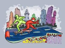 Tração da mão dos desenhos animados do skater da rua Fotos de Stock