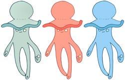 A tração da mão da garatuja do monstro da cor das medusa dos desenhos animados ajustou o verão feliz ilustração do vetor
