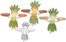 A tração da mão da menina do monstro da cor dos desenhos animados aloha ajustou a garatuja engraçada feliz ilustração do vetor