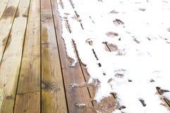 Tração da neve nas placas de madeira Fotografia de Stock