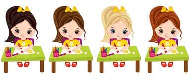 Tração das meninas do vetor Artistas pequenos do vetor ilustração royalty free