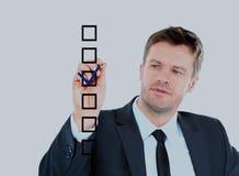 Tração do homem de negócio com o marcador no espaço vazio da cópia isolado Imagens de Stock Royalty Free