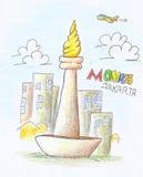 Tração do lápis da cor de Monas ilustração stock