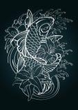 Tração do teste padrão do estilo japonês da tatuagem dos peixes de Koi Fotografia de Stock Royalty Free