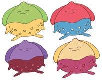 Tração feliz da mão da cor do grupo do monstro da garatuja dos desenhos animados da cópia ilustração stock
