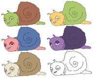 Tração feliz da mão do grupo de cor do monstro do caracol da garatuja dos desenhos animados da cópia ilustração do vetor