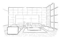 Tração interior gráfica do esboço do vetor da sala de visitas imagens de stock
