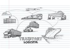 Tração logística da mão no papel alinhado do caderno ilustração royalty free
