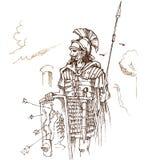 Tração romana da mão do guerreiro Imagens de Stock