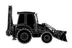 Tração técnica do vetor da máquina do graduador da máquina escavadora Imagens de Stock Royalty Free