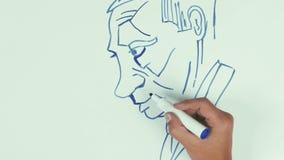 A tração Vladimir Putin da velocidade do homem enfrenta a caricatura com a pena de marcador azul no whiteboard vídeos de arquivo