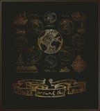 Traça continentes do atlas ilustração royalty free