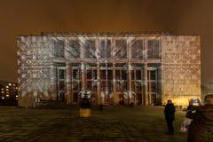 Traçar na fachada do Museu Nacional inspirou pela pintura de Stanislaw Wyspianski Krakow, Fotografia de Stock Royalty Free