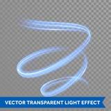Traço azul da fuga da espiral do redemoinho da luz de néon Fotos de Stock