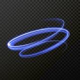 Traço azul de néon da fuga da luz da espiral do redemoinho do fogo Fotografia de Stock Royalty Free