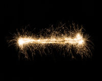Traço da luz do fogo de artifício do chuveirinho, hífen ou marca negativa Imagem de Stock