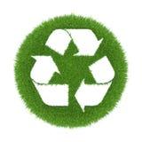 Traço de recicl na grama verde no formulário Foto de Stock