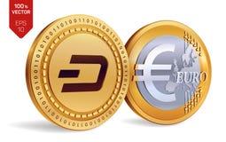 traço Euro- moedas 3D físicas isométricas Moeda de Digitas Cryptocurrency Moedas douradas com símbolo do traço e do Euro isoladas Imagem de Stock