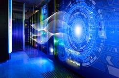 Traços abstratos da luz da imagem visualização de ataques do hacker no servidor de dados da informação fotos de stock royalty free